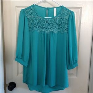 NEW Modcloth teal mixed media lace blouse top XS